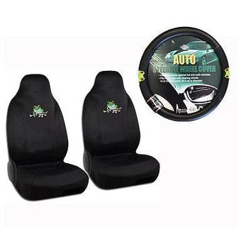 Licensed Official New Green Tree Frog Car Front Seat Covers & Steering Wheel Cover 3pc Set