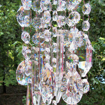 On Sale Crystal Wind Chime Sun Catcher, Garden Décor, Asfour Crystal,   House Warming Gift, Gift for Her, Crystal Gift, WC 114