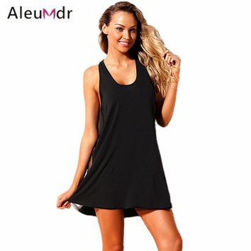 Aleumdr Swimwear Women Summer Tank Dress Black Mesh Side Racerback Cover-up Beach Wear LC420028 Ropa De Playa Para Mujer