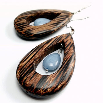 Exotic Palm Wood Dangle Earrings, Large Coconut Wood Open Teardrop Blue Angelite Stone Earring, Bohemian Earring, Organic Brown Blue Earring