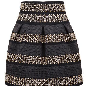 Black High Waist Stripe Sequined Pleated Skirt