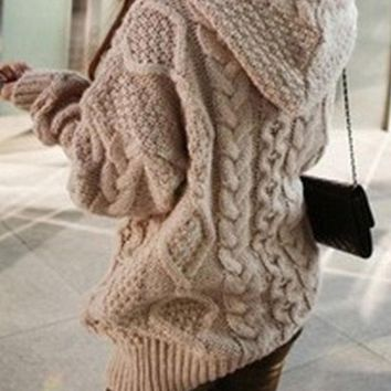ICIKJG8 Loose Knit Cardigan Sweater Knitwear Hoodie Jacket