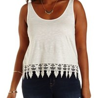 Crochet-Trim Cropped Tank Top by Charlotte Russe