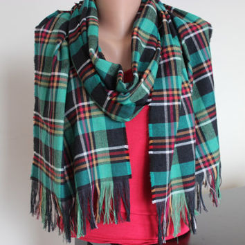 Sale green black burgundy scarf tartan from scarfangel for Green and black plaid flannel shirt