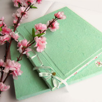 Personalized Vintage Mint Mulberry Paper Spring Wedding Guest book Album Scrapbook