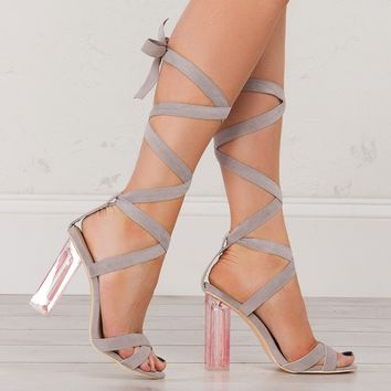 Strappy Lucite Heel Sandal in Black and Grey