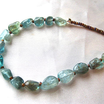 Dainty and simple, handmade apatite necklace. Sky-blue crystal gemstone jewelry for the casual everyday. long, layering necklace