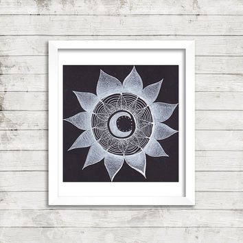 Black and White Moon Mandala Art, Colored Pencil Art, Original Drawing