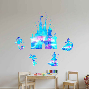 kcik1980 Full Color Wall decal Watercolor Character Disney Castle Disney Princesses Jasmine Ariel Snow White Belle Sticker Disney