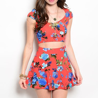 Floral Print Crop Top and Skater Skirt Set in Red