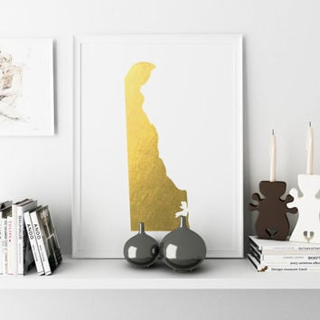 Delaware Gold Color Map Print Personalized Home Town Art State Wall Decor Decor Poster Print GOLD USA Typography Art Nursery Art Print USA