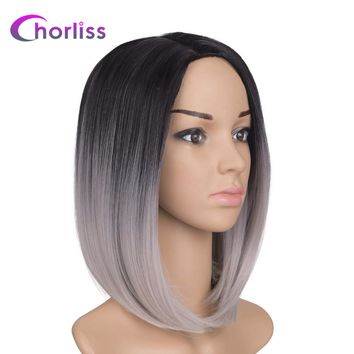Chorliss 10inches Black Ombre Two Tone Synthetic Wigs High Temperature Fiber Short Straight Women Bob Wig