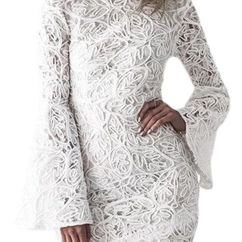Crochet Lace Shell Bell Sleeve White Dress