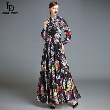 LD LINDA DELLA Fashion Maxi Dress Women's Long Sleeve Vintage Floor Length Vacation Party Floral Flower Printed Long Dress