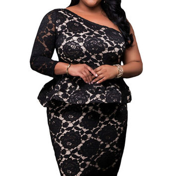 Plus Size Black Lace One Shoulder Peplum Dress
