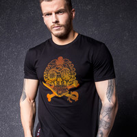 Short Sleeve Strong Character Print Cotton Round-neck Summer Casual T-shirts [10488647875]