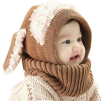 Baby Rabbit Ears Knitted Hat Infant Toddler Winter Cap Beanie Warm Hat Hooded Scarf Earflap Knitted Hat