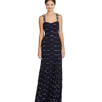 Sequin Hearts Envelope-Back Long Lace Dress - Navy/Silver