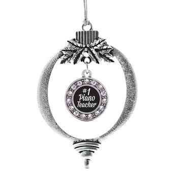 #1 Piano Teacher Circle Charm Holiday Ornament