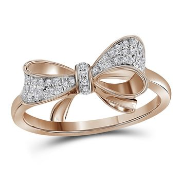 10kt Rose Gold Womens Round Diamond Cluster Ribbon Knot Bow Ring 1/12 Cttw