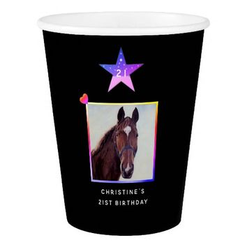 Chestnut Horse with White Star Template Paper Cup