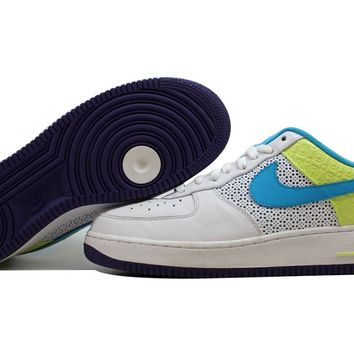 Nike Air Force I 1 Premium '07 White/Vivid Blue-Volt 315186-142 [30564]