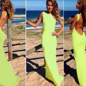 Streetstyle  Casual Green Backless Round Neck Sleeveless Fashion Maxi Dress