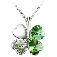 "jewlery  - Swarovski Elements Crystal Four Leaf Clover Pendant Necklace 19""-CN9034SG"