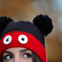 Mickey , Unisex , Cartoon Crochet Hat, for Him and for Her, Youth and Adults.