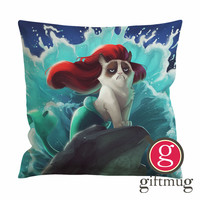Grumpy Cat Little Mermaid Cushion Case / Pillow Case