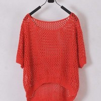 Women Euro Style Short Sleeve Hollow-out Red Knitting Sweater One Size@WH0128r $12.99 only in eFexcity.com.