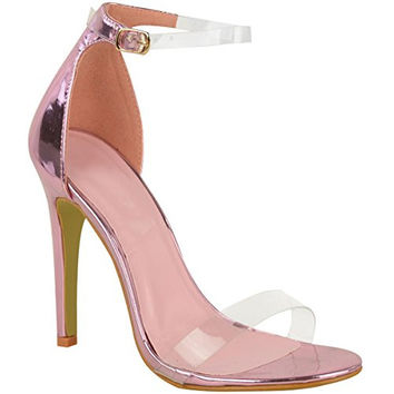 Fashion Thirsty Womens High Heel Barely There Clear Perspex Sandals Strappy Stiletto Size