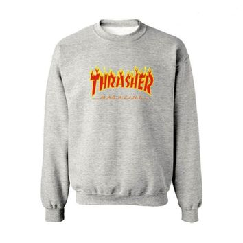 Fall and Winter Thrasher Flame Skateboard Tide Death Hip Hop West Coast Harajuku cotton round neck sweater Red letters-1