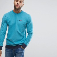 Patagonia Crew Neck Sweatshirt With P-6 Label in Blue Marl at asos.com