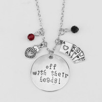 "Alice in Wonderland Necklace""off with their Heads"" Letter Pendant Crystal Queen of Hearts Poker Charms Handmade Silver Necklace"