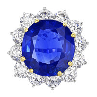 13.88ct Sapphire and Diamond Cluster Ring