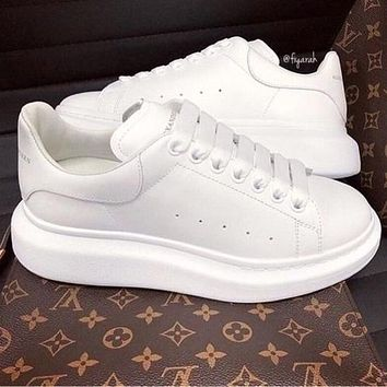 ALEXANDER MCQUEEN Popular Woman Casual Sneakers Sport Shoes(Leather Tail) Full White