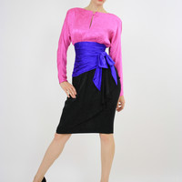 Vintage 80s AJ Bari Silk Color block Party Dress