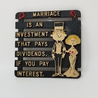 Vintage Cast Iron Whimsical Trivet Marriage is an Investment That Pays Dividends If You Pay Interest
