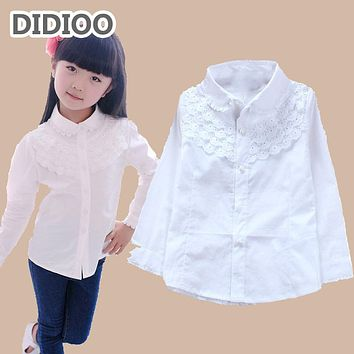 white blouse for girls blouses cotton long sleeve girls shirts lace tun-down collar big kids clothes