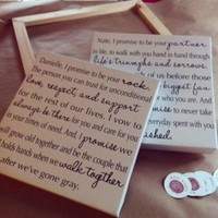 Custom Canvas 12x12 inches, Wedding Vows on Canvas,