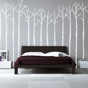 Birch Trees - Vinyl Decal - Apartment Decor - Home Decor - High Quality Vinyl