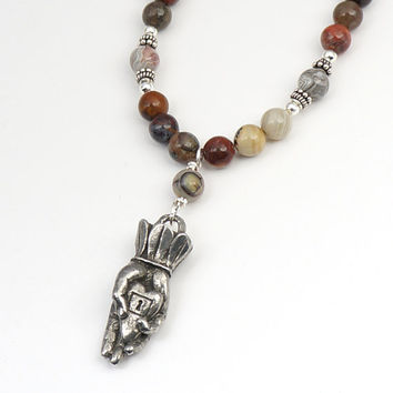 Heart in hand necklace with earthtone agate beads, brown white red semiprecious stone, 20 1/4 inches 51cm