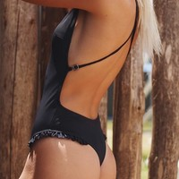 Black Cross Back Ruffle Backless Plunging Neckline Swimwear