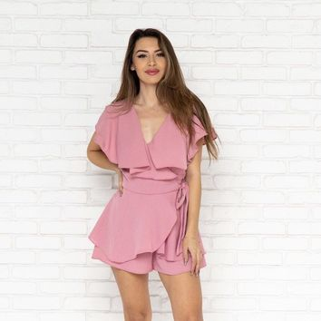 Take Me To Brunch Romper in Dusty Rose