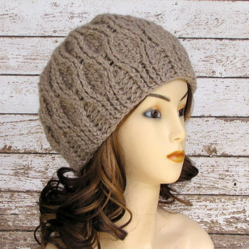 Crocheted Alpaca Hat, Taupe Woman's Hat, Natural Alpaca Cloche