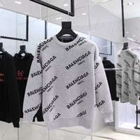 ku-you Balenciaga Grey Letters Sweater