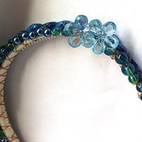 Blue floral pearl beaded headband for adult or child