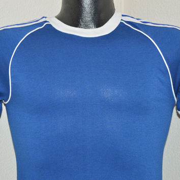 70s Blue Stedman Striped Jersey Blank t-shirt Extra-Small