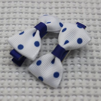 White Polka dot hair bow set Mini hair clip tuxedo hair bow baby small hair bow infant simple hair bow alligator hair clip